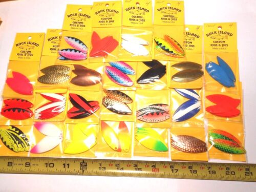 ROCK ISLAND SPORTS WILLOW LEAF SPINNER BLADES # 4  10 CT NEW COLORS!!!