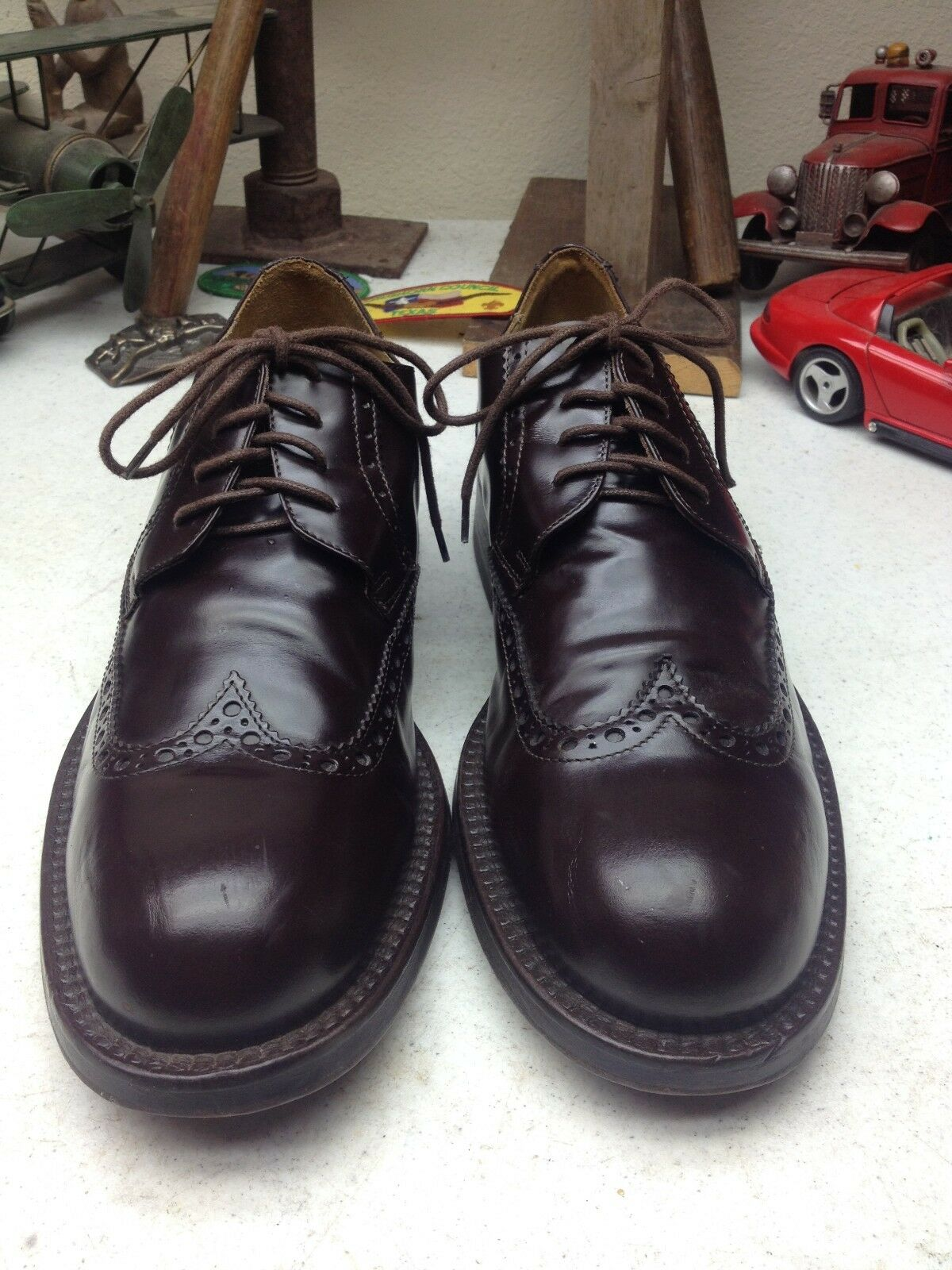 KENNETH COLE ITALIAN DARK BROWN CORDOVAN OXFORD WING TIP POWER SHOES 10.5 D