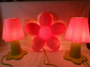 Details about Smila Blomma Pink Flower Shaped Wall Decor/Bedroom Light With  2 Table Lamps IKEA