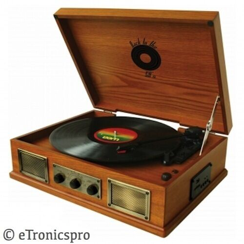 BACK TO THE 50'S 3 SPEED WOODEN TURNTABLE VINYL RECORD PLAYER RETRO DESIGN NEW