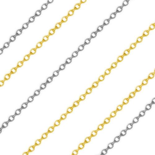1.17 mm 14k solide jaune ou or Blanc Mince Câble Lien italien Chaîne Collier 1133