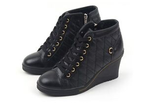 ae82b134970 Details about MAX Women Wedge Heel Shoes Girls Ankle Boots Platform Casual  Lace up Hi Cut MIRR