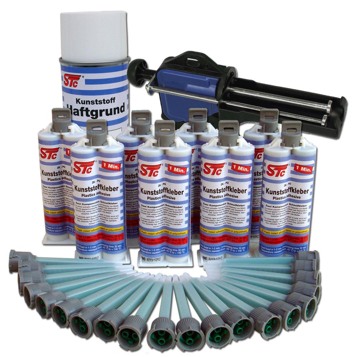 8 x 50 g 2K PU Kunststoffkleber 1 Minute Kunststoffreperatur Set inkl. Zubehör