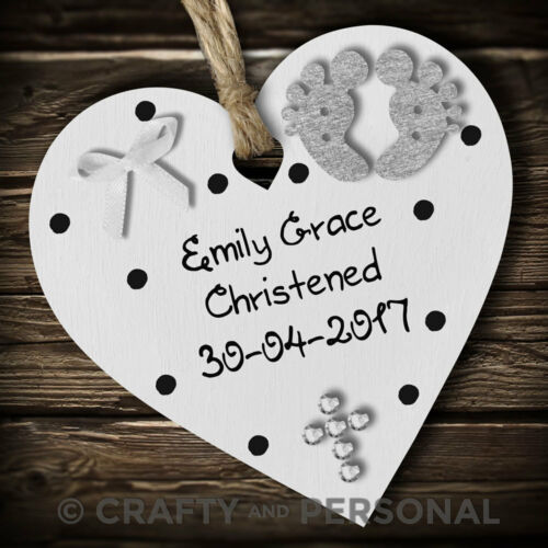 Personalised Baby/'s Christening gift plaque Baptism heart keepsake for boy girl
