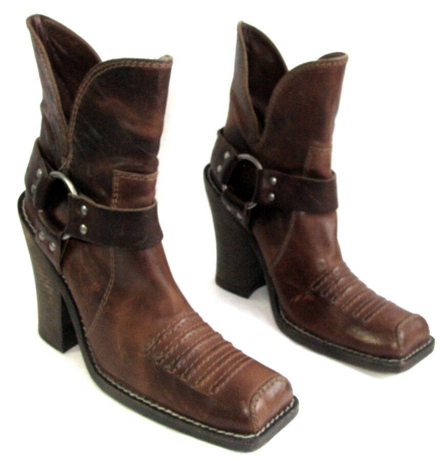 DIOR Bottines bottes santiags talons 11.5cm cuir marron 39 italien EXCELLENT ETAT