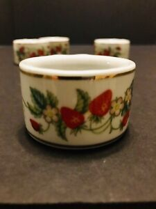 Avon Products, Napkins Rings, Set of four, Strawberries with Gold Trim