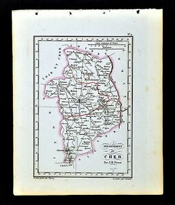 Sancerre France Map.1841 Perrot France Map Departement Cher Bourges St Amand Sancerre