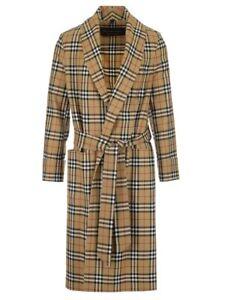L Yellow Waist Burberry about Check Details Mens Dressing Coat Antique Vintage Gown Size Tie CrdoxeB
