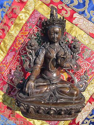 """MUSEUM QUALITY 9"""" BRONZE LONG LIFE & SERENITY WHITE TARA STATUE TIBETAN BUDDHIST"""