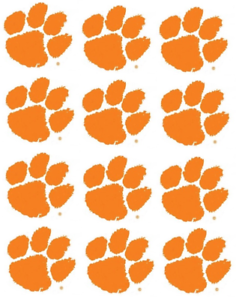 """Clemson Tigers Cupcake Toppers Edible Image 2/"""" Frosting Circles"""
