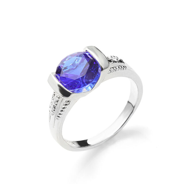 Fashion lady Silver Sapphire Engagement Wedding Band Ring sz7-9