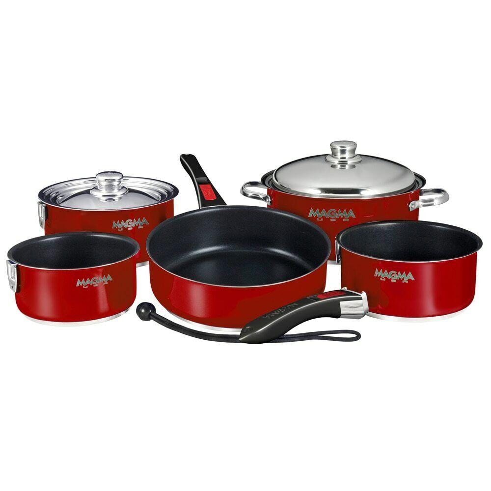 Magma Nesting 10 pièces induction compatible Ustensiles de Cuisine-Rouge Magma extérieur & à lamelles