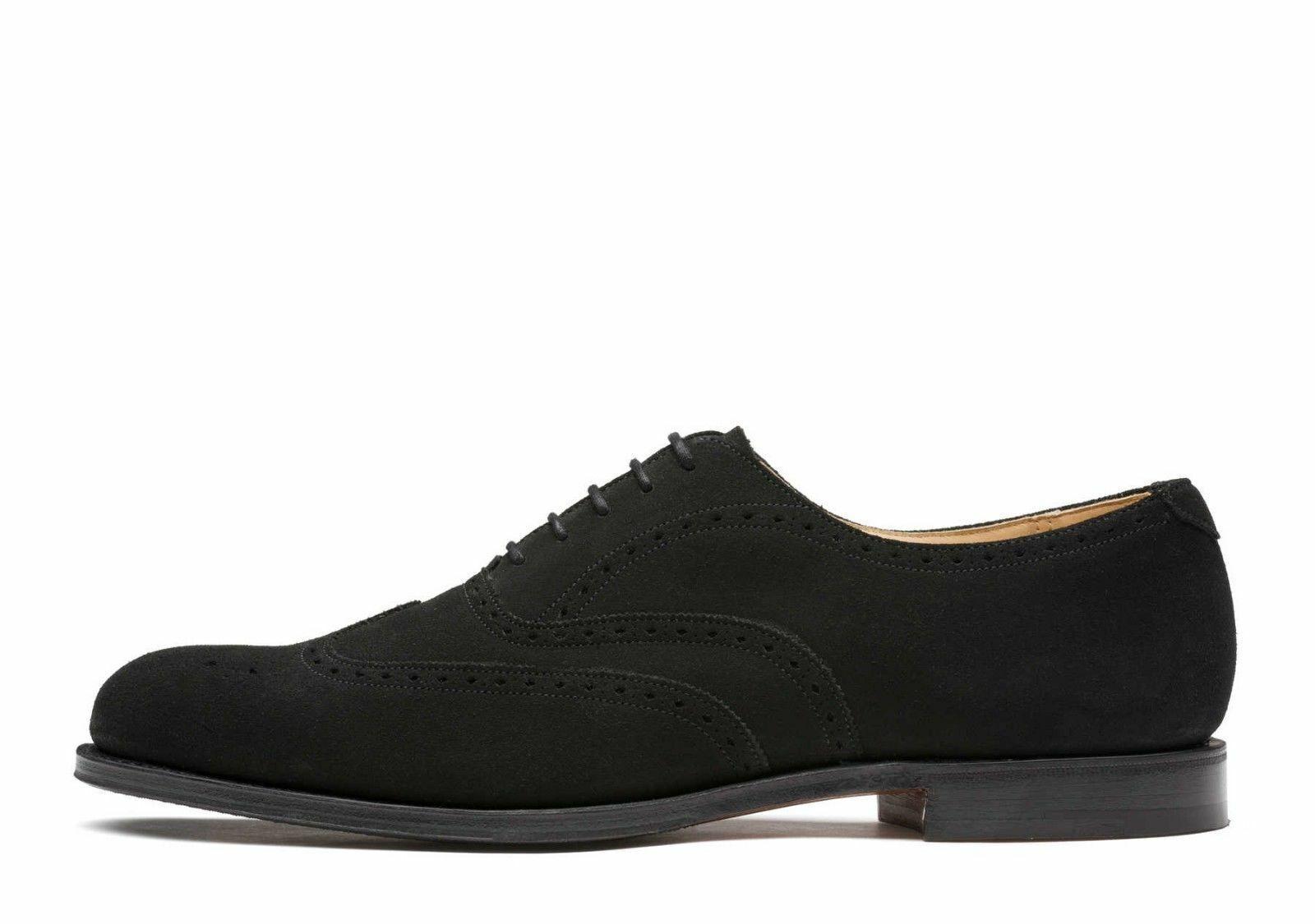 Zapatos para hombre hecho a mano Bespoke Vestido Formal De Gamuza Negra Clásica Punta del ala Bota Informal