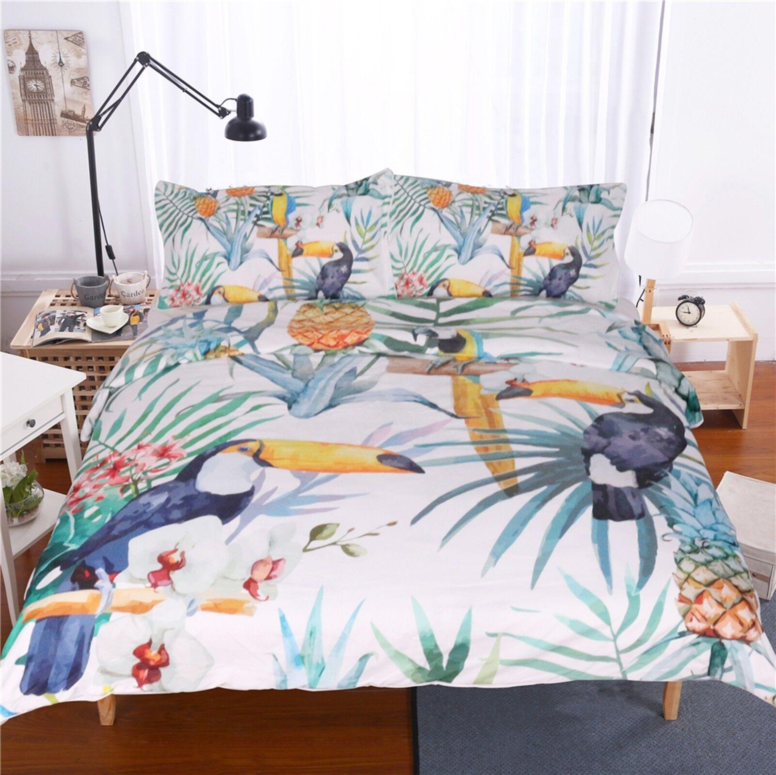 3D Toucan Leaf 58 Bed Pillowcases Quilt Duvet Cover Set Single Queen King AU