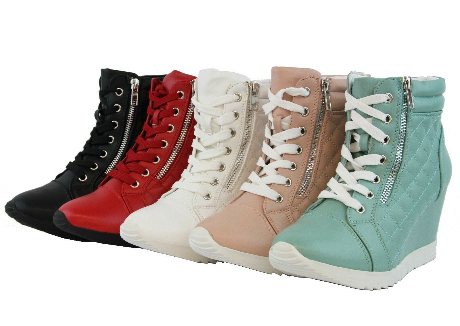 High Top Ankle High Hidden Wedge Heel Sneaker Quilted Boots Design Lace Up Shoes