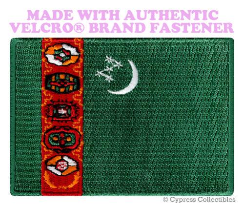 TURKMENISTAN NATIONAL FLAG PATCH TURKMEN EMBROIDERED w// VELCRO® Brand Fastener
