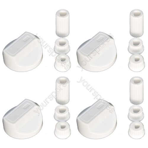 4 X New World Universal Cooker//Oven//Grill Control Knob And Adaptors White