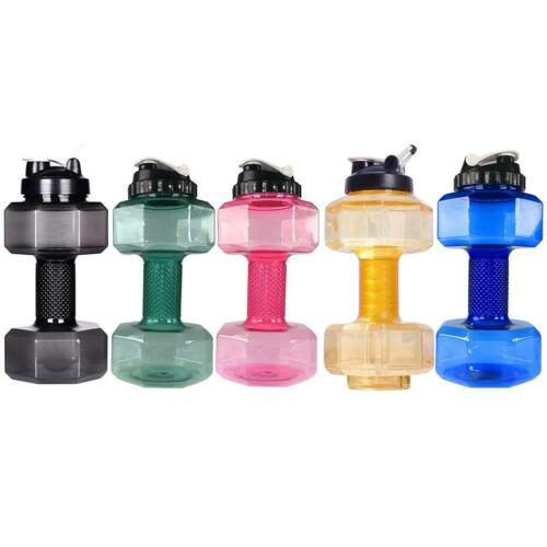 2.2L Dumbbells Shaped PP Outdoor Fitness Exercise Gym Sports Water Bottle F07#