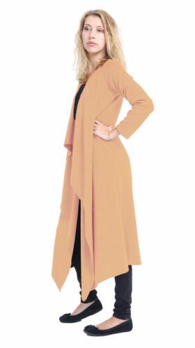 Da Donna con Manica Lunga Aperto Davanti Cascata Cardigan Crepe Duster Coat 08-26