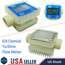 Pro K24 Lcd Turbine Digital Diesel For Fuel Flow Meter Chemicals Water Blue Usa