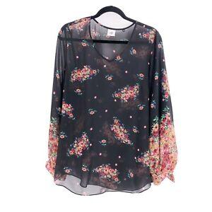 CAbi-3594-Blooming-Blouse-Sheer-Black-Floral-V-Neck-Medium-Long-Sleeve
