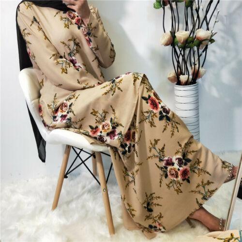 2 Piece Dress Women Floral Printed Abaya Muslim Kaftan Prayer Jilbab Set Ramadan