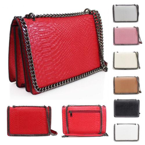 Womens Snakeskin Chain Trim Flap Clutch Shoulder Bag Crossbody Messenger Handbag