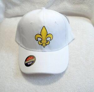 Fluer-De-Lis-White-amp-Gold-Polyester-Ball-Cap