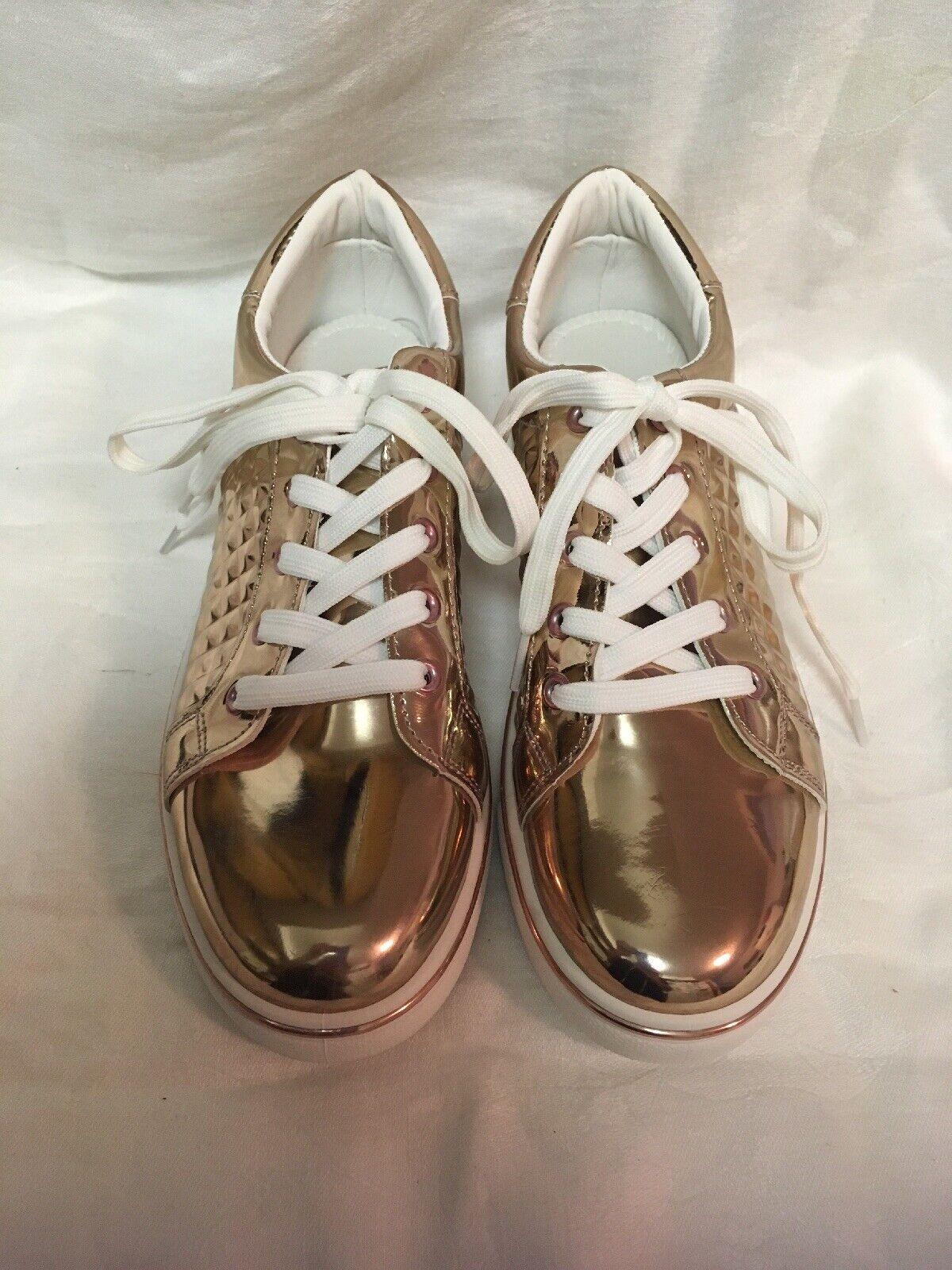 Qupid Matthew pink gold Metallic Fashion Sneakers 10 New