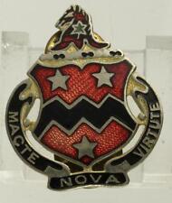 Vintage US MILITARY DUI Pin 16th Field Artillery Regiment MACTE NOVA VIRTUTE