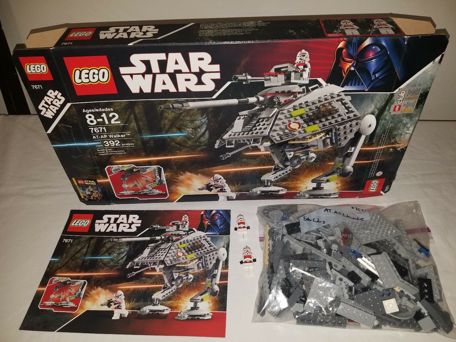 Lego Star Wars AT-AP Walker 7671 100% Complete clone troop builder