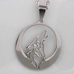stainless steel howl wolf necklace unisex wolf head pattern necklace