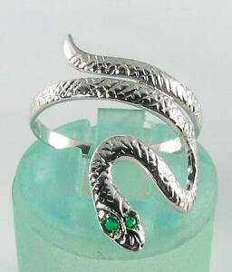 ENGLISH 9K 9CT WHITE GOLD SNAKE EMERALD EYES COILED RING - <span itemprop=availableAtOrFrom>NOTTINGHAM, Nottinghamshire, United Kingdom</span> - Returns accepted Most purchases from business sellers are protected by the Consumer Contract Regulations 2013 which give you the right to cancel the purchase within 14 - NOTTINGHAM, Nottinghamshire, United Kingdom
