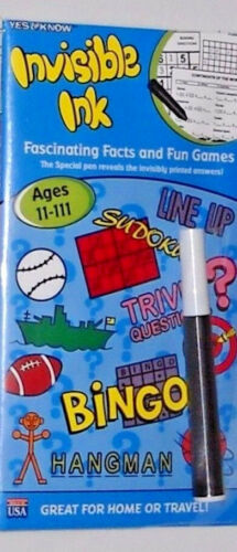 Yes & Know Invisible Ink Books Ages 11-111 FASCINATING FACTS & FUN GAMES