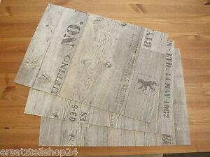 platzset tischset holzdekor antik grau abwaschbar rutschfeste unterlage pvc 10 ebay. Black Bedroom Furniture Sets. Home Design Ideas
