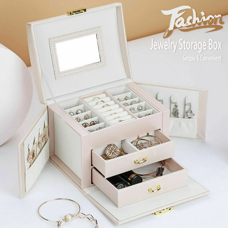 Large 3 layer Jewellery Box Rings Necklaces Bracelets Jewelry Storage Organiser