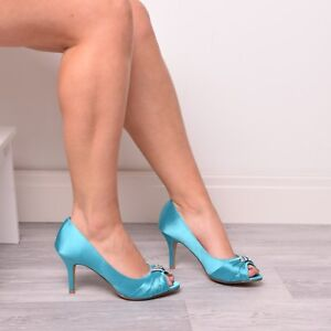 8b1a7c526de Details about Ladies Womens Wedding Shoes Bridal Bridemaids Prom Diamante  Teal Shoes Size