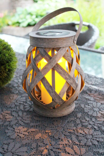 LED Laterne Solarlampe Solarleuchte Windlicht mit Timerfunktion Gartenlampe