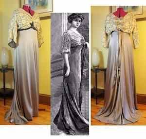 921974172e Image is loading Antique-Sewing-Pattern-for-Stunning-1909-Edwardian-Evening-