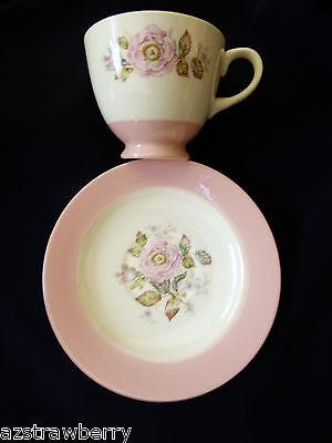 Homer Laughlin VTG Tea Cup & Saucer set  Wild Rose Pink rim
