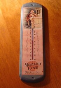 INDOOR OUTDOOR THERMOMETER Ocean Mermaid Cove Seaside Inn Shell Home Decor NEW