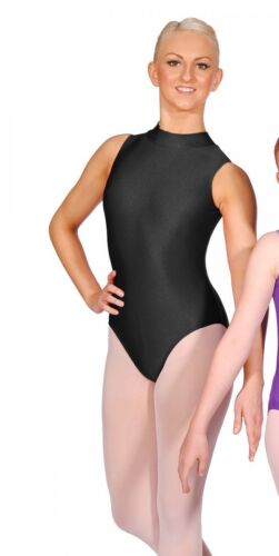 Roch Valley Sleeveless Turtle Neck Leotard Nylon Lycra Black Dance Gymnastics