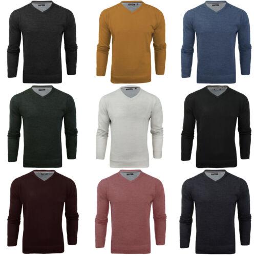 Brave Soul Mens Quazar V Neck Knitted Long Sleeve Jumper Sweater Sweatshirt Top