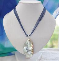 z6030 50MM gray crescent south sea mabe PEARL blue pendant silk chain