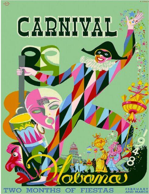 1948 Havana Cuba Cuban Caribbean Carnival Vintage Travel Advertisement Poster