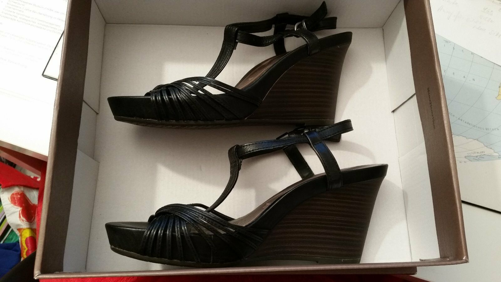 Tamaris Damen Sandalette Schuhe Sandalen schwarz Keilabsatz Leather Cuir 38