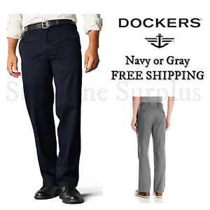 NEW-DOCKERS-D2-MEN-039-S-STRAIGHT-FIT-SIGNATURE-KHAKI-FLAT-FRONT-PANTS-NAVY-GRAY