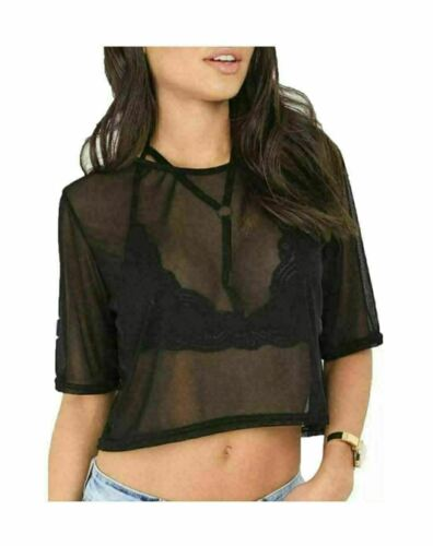 Ladies Mesh Short Sleeve Baggy Crochet Fishnet Round Neck Crop Top UK Size 8-14