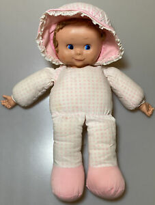 Vintage-Uneeda-Plush-Pink-White-Rubber-Face-Baby-Doll-19-Bonnet-Blue-Eyes-FLAW