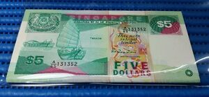 29X Singapore Ship Series $5 Note A/65 131352-131380 Run Dollar Note Currency